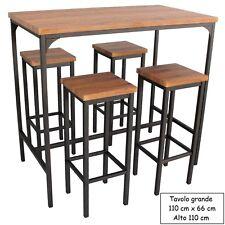 Set Tavolo Bar Rettangolare e 4 Sgabelli Alti Mod. FIRENZE Marrone H.110 Design