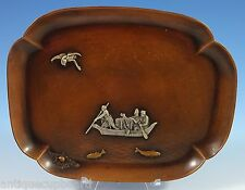 Mixed Metals by Gorham Sterling Silver Tray w/Fisherman Applied Bird Fish #1104