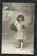 Posted 1913 from Belgium: Young Girl in Winter Hat/Coat: Happy Birthday