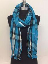NEW Women Soft Fringe Scarf Fashion Crinkle Cotton Blend Wrap Shawl Turquoise
