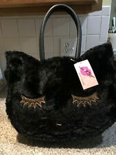 Betsey Johnson Large Fuzzy Cat Purse NWT