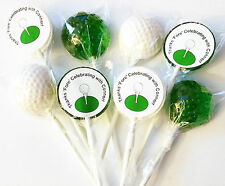 12 GOLF BALL LOLLIPOPS with FREE PERSONALIZED LABELS ~ PICK COLOR and FLAVOR