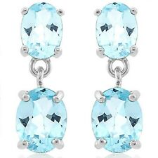 AQUAMARINE & SWISS TOPAZ 4.52 CWT SILVER EARRINGS WHITE GOLD LOOK  EARTH MINED