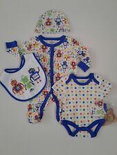 Baby boys clothes 5 piece set robot stars baby grow layette newborn 0-6 months