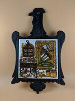 Vintage 1970s Cast Iron Rooster Trivet Tile Japan Flag Lantern Stove Kitchen MCM