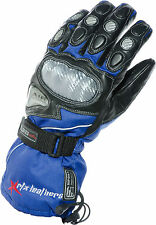 Pro WINTER Warm Biker BLUE Black Rain Resistant CE Leather Motorcycle Gloves XL