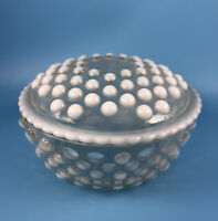 Vintage Anchor Hocking Moonstone Hobnail Glass Covered Candy Powder Dish