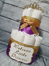 2 Tier Diaper Cake - Custom Royal Purple and Gold Princess Diaper Cake for Baby