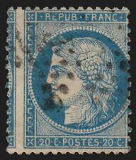 n°37 variété piquage à cheval, Cérès Siège de Paris 1870, 20c bleu - TB