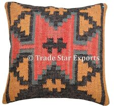 Kilim Cushion Cover Jute Ethnic Pillow Boho Hand Woven Shams Hippie Indian Throw