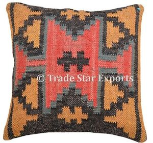 "Kilim Pillow Case 18"" Jute Rug Square Cushion Cover Indian Vintage Cushion Cover"