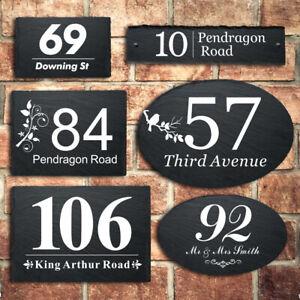 Rustic Slate House Gate Sign Plaque Door Personalised Number Road UV Printed