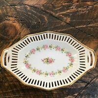 Vintage Schwarzenhammer Bavaria W.Germany Reticulated Candy Trinket Dish Bowl