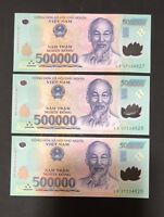 3 x 500,000 DONG VIETNAM DONG MONEY POLYMER CURRENCY BANKNOTE VIETNAMESE UNC