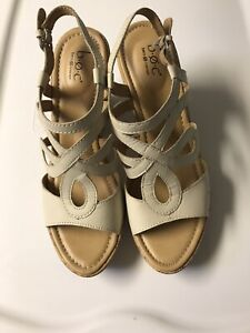 BOC Born Concept Womens Shoes Cate Natural Strappy Cork Wedge Sandal 9M no box
