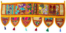 Handmade Ethnic Toran Diwali Decoration Embroidered Garland Door Hanging Yellow