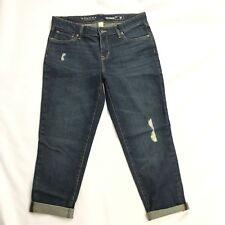 Sonoma Boyfriend Jeans Womens 8P Distressed Cotton Dark Indigo Petite