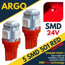 24v Side Light 507 501 W5W 5 SMD Led Red T10 Hella Spot Capless Bulbs HGV Truck