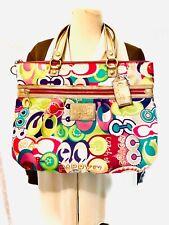 Authentic COACH Poppy C Glam Multi-color Signature X-Large Tote Handbag Purse