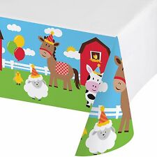 "Barnyard Table Cover On the Farm Birthday Party 54"" x 84"" Tablecloth Cows Horse"