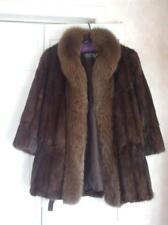 Ladies Dark Brown Mink Fur Jacket with Fox Collar Winter Coat Large PAPPAS FURS
