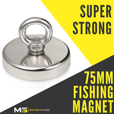 Super Strong Neodymium Recovery Fishing Magnet 75mm 240kg / 529bs Pull Eyebolt