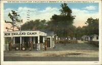 Brunswick GA New England Camp Gas Pumps Station Cabins Postcard