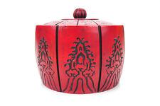Chinese Antique Red Cinnabar Circular Box w/12 Zodiac Motif carvings