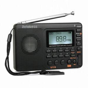Retekess V115 Portable AM FM Radio with Shortwave MP3 Player