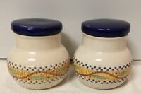 VTG Blue & Yellow Mosaic Art,Kitchen Ceramic Cream, Blue,,Color Canister Jar/Pot