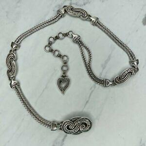 Brighton Silver Tone Flourish Heart Belly Body Chain Link Belt Size Small S