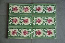 6Pc Vintage Majolica Decorative Flower Art Nouveau Architecture Tiles,Japan