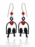 Love Bird Earrings - 925 Sterling Silver Ear Wires - NEW Dangle Hand Painted