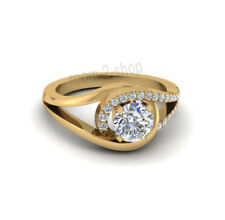 Round Cut 1 Ct Near White Moissanite Engagement Ring 14K Solid Yellow Gold 7