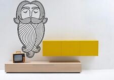 Wall Vinyl Sticker Mural Decal Curls Ringlets Folk Wisdom Beard Logo Head F1270