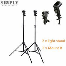 2x210cm Photography Studio Speedlite Flash Light Stand+2 Bracket Flash Holder AU