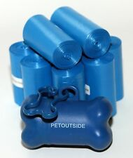 1035 DOG PET WASTE POOP BAGS 45 BLUE REFILL CORELESS ROLL with FREE DISPENSER