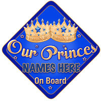 Our Princes Car Sign Like Baby//Child On Board Blue//gold
