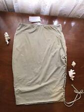Beige Sage Grey Bodycon Midi Skirt Tie Up Split Stretchy Medium $4 EXPRESS New