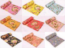 Indian Handmade Cotton Floral Print Kantha Quilt Throw Reversible Queen Blanket