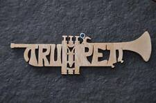 Trumpet Band Instrument  Wood Christmas Ornament Hand Cut USA
