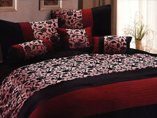 7-Pc Classy Floral Motif Comforter Set Burgundy Black Goth Gothic Vampire King