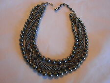 """Alice Caviness"" Signed Vintage multi-strand bead Necklace Gun Metal Color ( D"