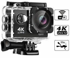 "Camara WIFI 4K ULTRA HD deportiva tipo GoPro 2"" sumergible acuática"