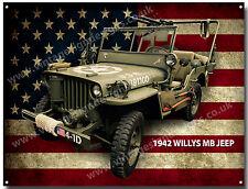 willys mb jeep 1942 métal plaque.vintage américain armée jeeps, classique JEEPS