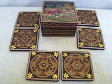 Bando's Southwest Style Square Wooden Drink Coasters with Lidded Box