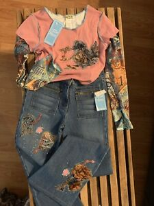 LITTLE MASS Girls NWT OUTFIT Top Size 12 & Jeans Size 14