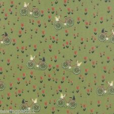Bicycle Retro Fabric flowers bicycle fat 1/4 green 100%cotton,Moda