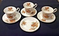 PARAGON FINE BONE CHINA REG'D ENGLAND LOT 3 FOOTED DEMI FALL CUPS 4 SAUCERS RARE
