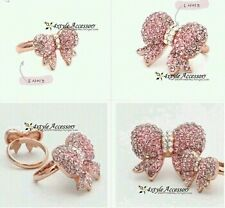 Exquisitely Beautiful Wild Pink limitation Diamond Gold Bow Ring Korean Jewelry